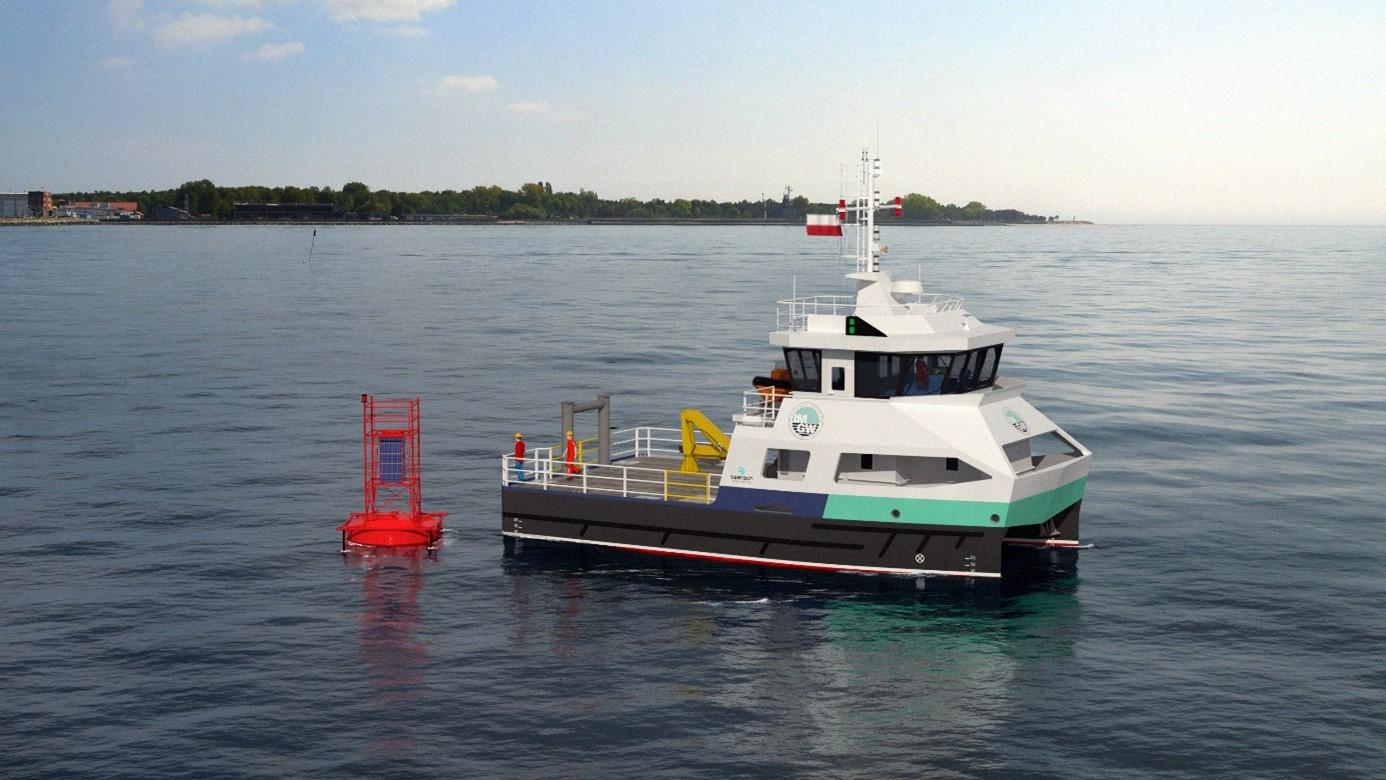 Wizualizacja jednostki IMGW-PIB do obsługi systemu morskich boi meteorologicznych.