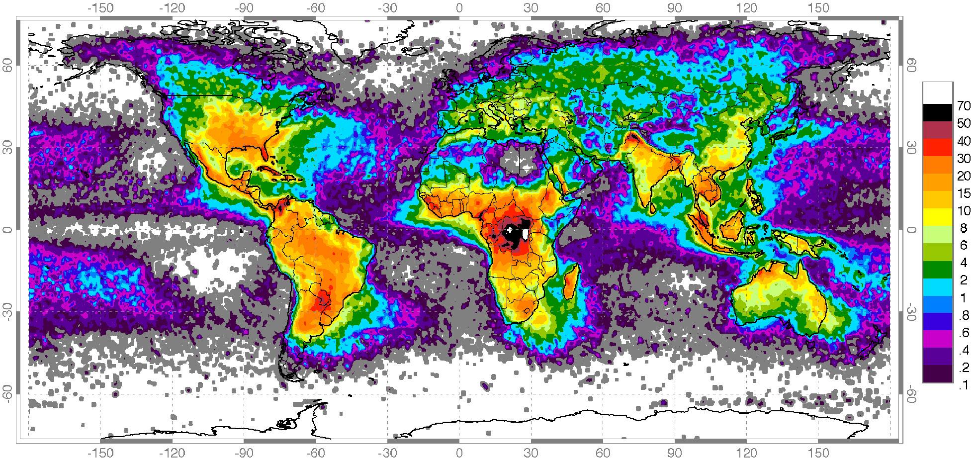 Częstotliwość wyładowań atmosferycznych na Ziemi na podstawie danych satelitarnych NASA zebranych w latach 1995-2003 [liczba wyładowań/km2/rok]. - Wikimedia Commons / Wiedza i Życie.