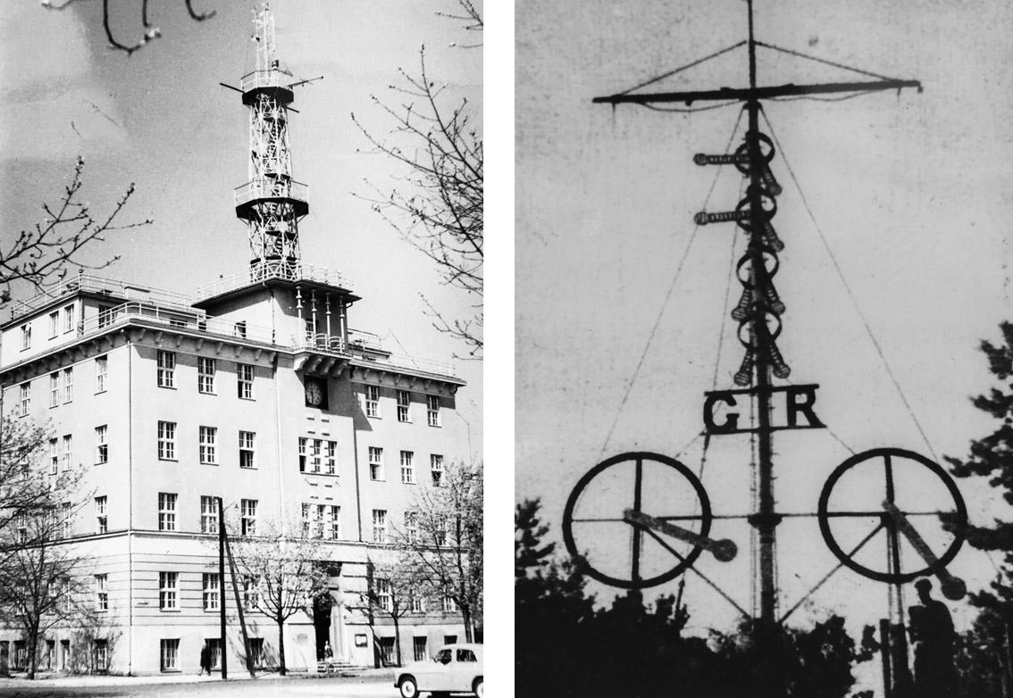 Po lewej: Budynek Oddziału Morskiego PIHM przy ul. Waszyngtona 42 w Gdyni w latach 60. XX w., z widocznym na dachu masztem służącym do umieszczania ostrzeżeń sztormowych (archiwum IMGW). Po prawej: Maszt sygnałowy na Helu; zestawienie sygnałów wskazuje na wiatr w Gdyni o natężeniu 8 st. w skali Beauforta o kierunku południowo-wschodnim, a na Rozewiu poniżej 6 st. w skali Beauforta (archiwum IMGW).
