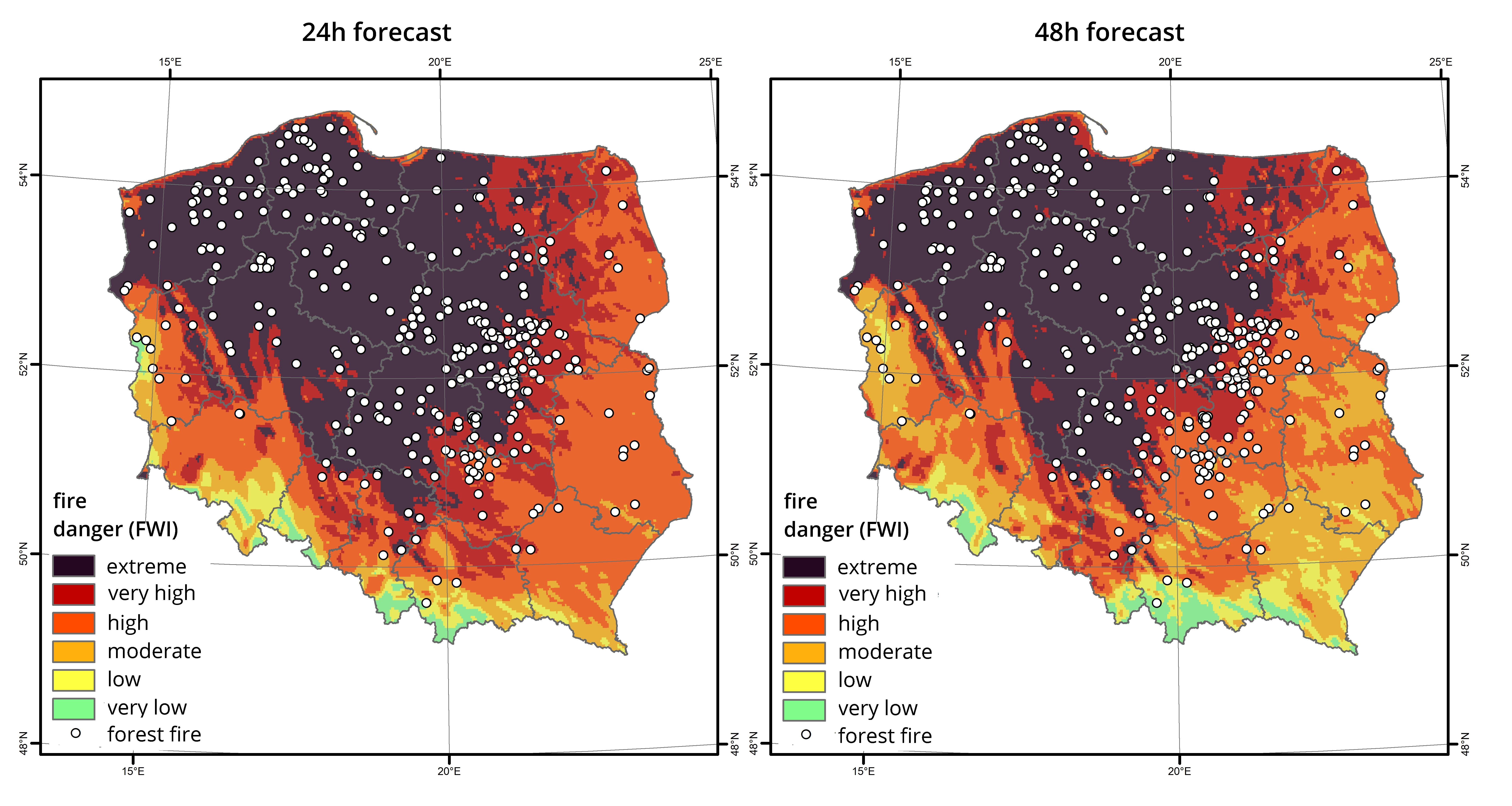 Forest fires observed on April 23rd, 2019 versus the high-resolution forecast of the FWI index (general fire danger) on 21st and 22nd of April, 2019; fire data source: The State Fire Service.