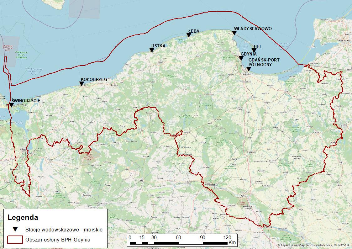 Obszar morskiej osłony hydrologicznej IMGW-PIB.