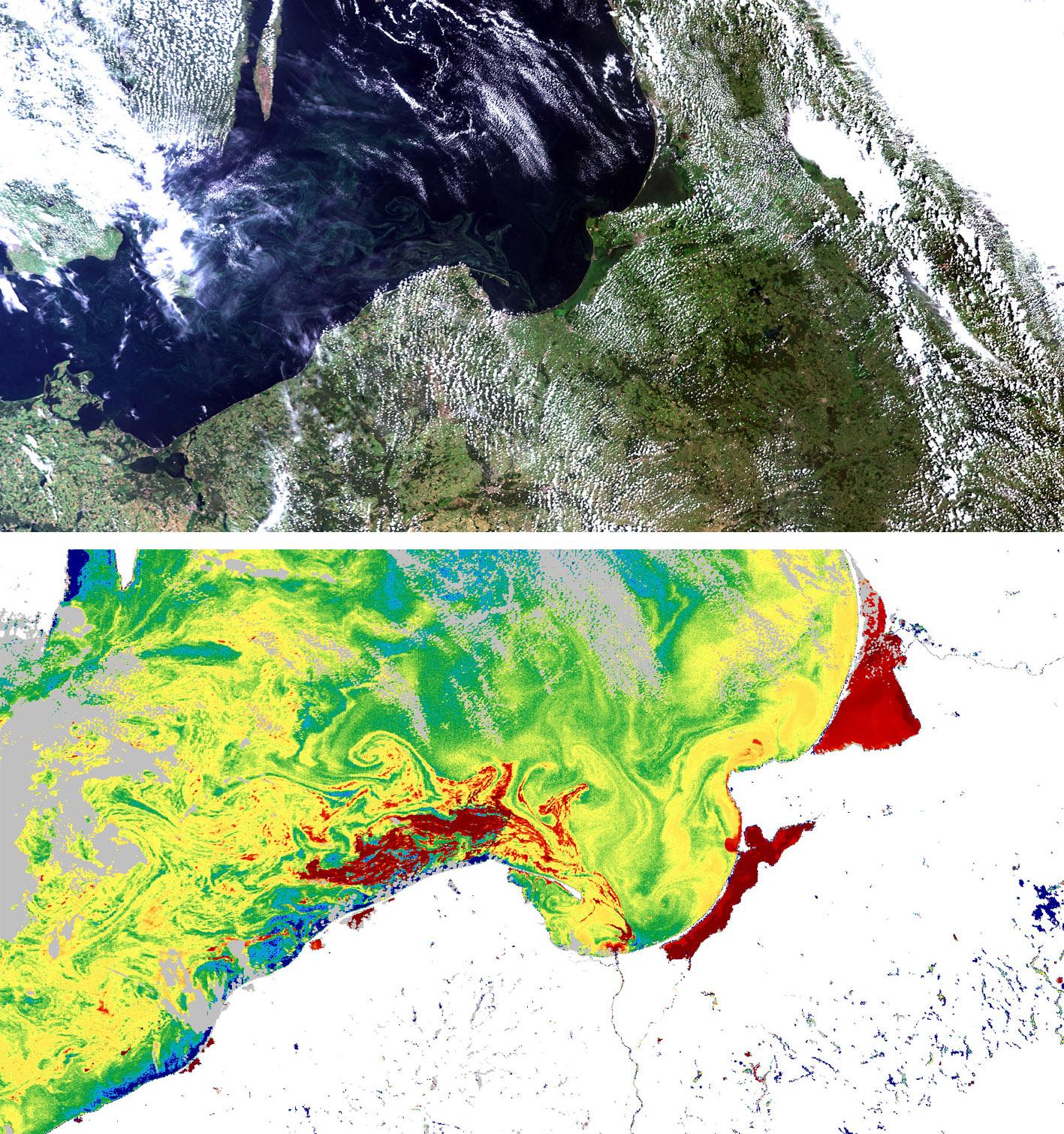 Obrazy z przelotu Sentinel-3; kompozycje barwne RGB True Colors. Subset 2 obejmuje całe nasze Wybrzeże, a Subset 4 jego wschodnią część. Opracowano w ZTS IMGW-PIB.