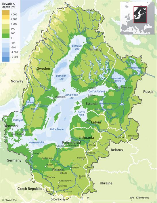 Zlewisko Morza Bałtyckiego (źródło: Global International Waters Assessment (GIWA), published by HELCOM).