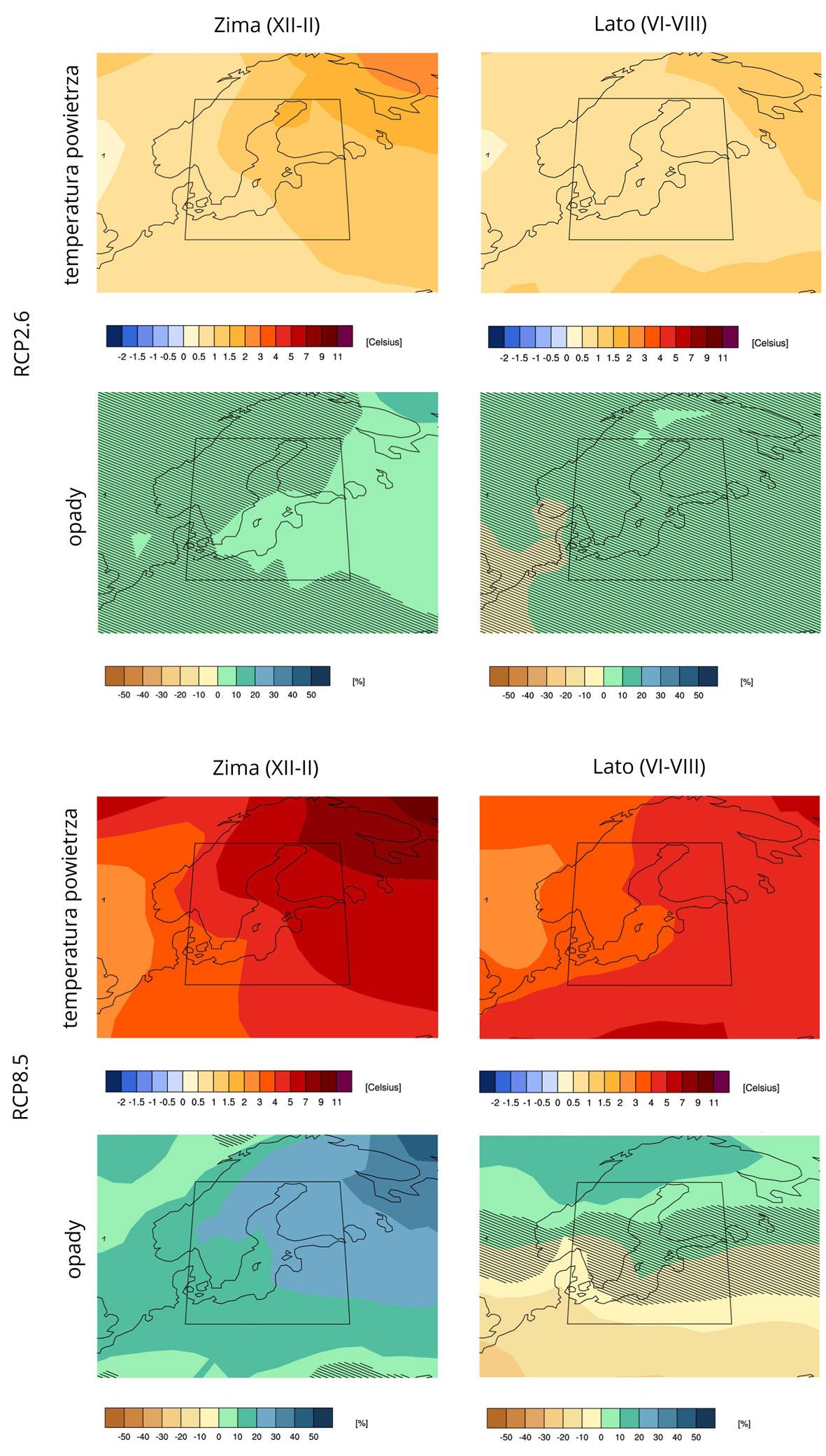 Zmiana (względem okresu 1991-2020) wartości temperatury powietrza (°C) oraz opadu (%) dla obszaru Morza Bałtyckiego (źródło: KNMI Climate Change Explorer, https://climexp.knmi.nl/plot_atlas_form.py).
