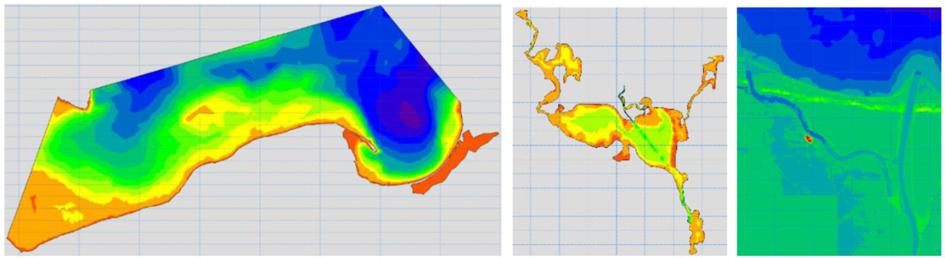 Ukształtowanie powierzchni dna – od lewej: część Bałtyku Południowego zawierająca polskie wybrzeże wraz z Zalewem Wiślanym; Zalew Szczeciński; ujściowy odcinek Wisły.