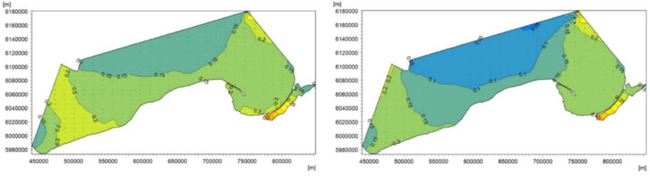 Surowe wyniki dwuwymiarowego modelu dla polskiej strefy brzegowej.