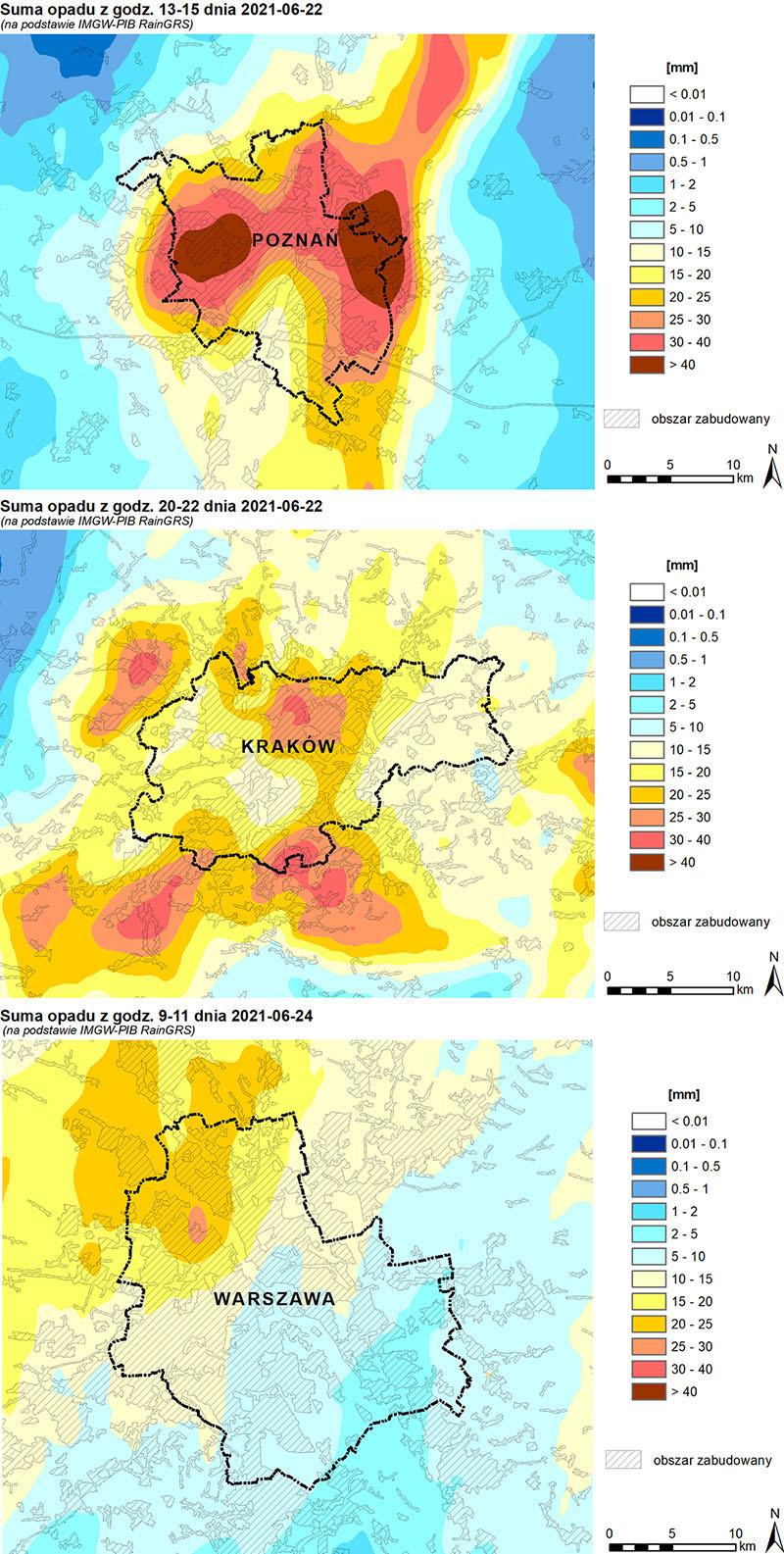 Przykładowe pola 3-godzinnych sum opadów dla wybranych miast podczas intensywnych zjawisk konwekcyjnych, utworzone przy użyciu danych RainGRS.