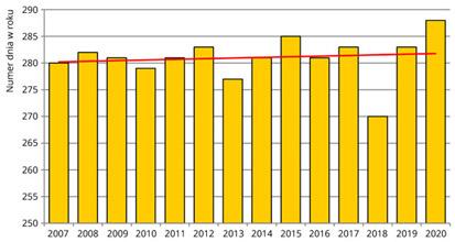 Średnie daty żółknięcia liści brzozy brodawkowatej w Polsce w latach 2007-2020.